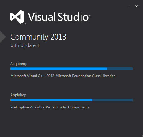 Visual Studio Community Edition 2013 now on hour two of install